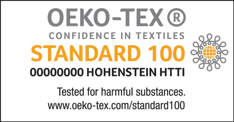"STANDARD 100 by OEKO-TEX® logo, certification number and institute, ""Tested for harmful substances"" claim and website"